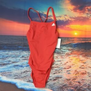 Adidas solid vortex red swimsuit size 24